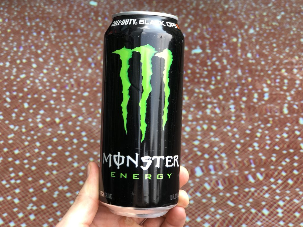 Close-up of Monster Energy Drink.