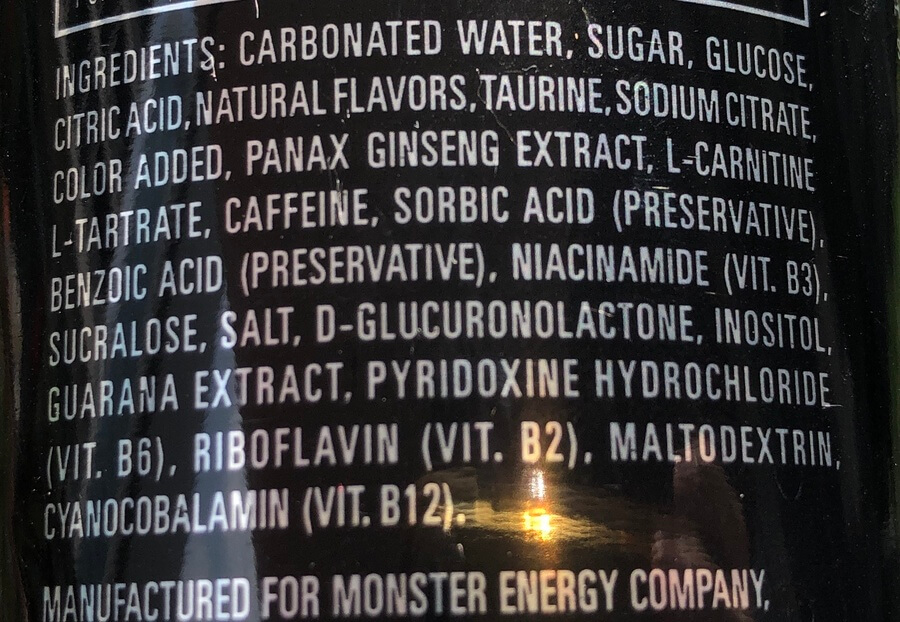 A picture of Monster Energy ingredient label