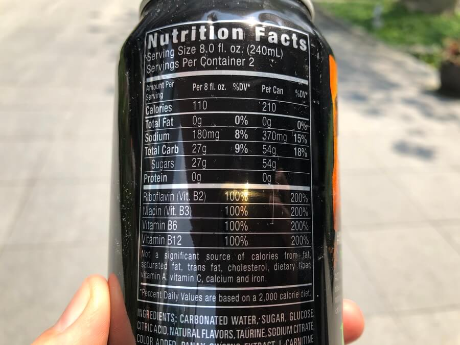 A picture of Monster Energy Nutrition Label