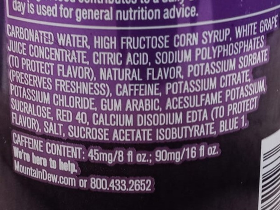 A list of ingredients on the back of a can of Mountain Dew Kickstart.