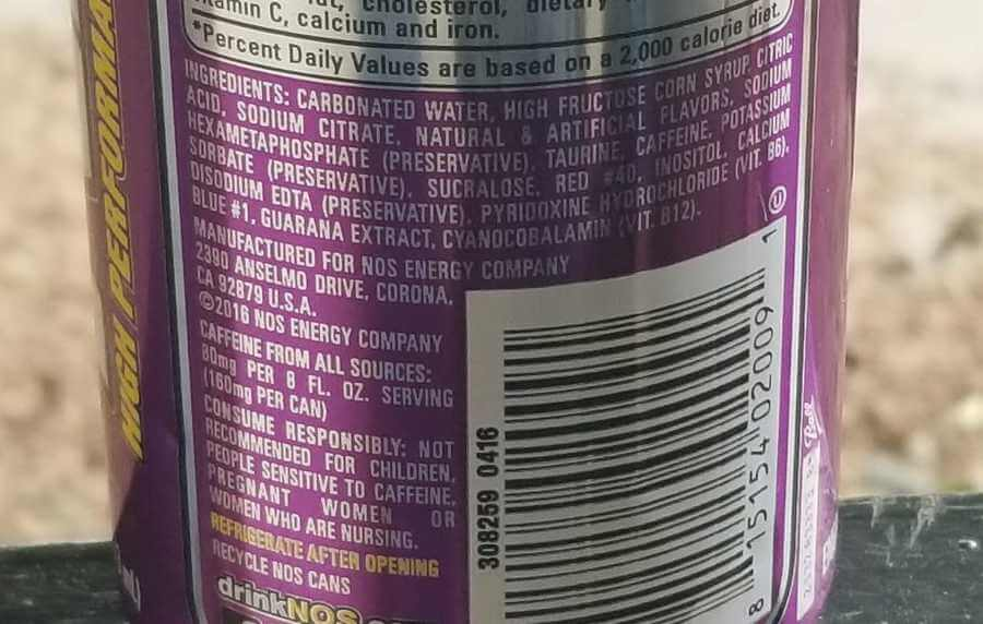 The ingredient list behind a can of NOS Energy Drink.