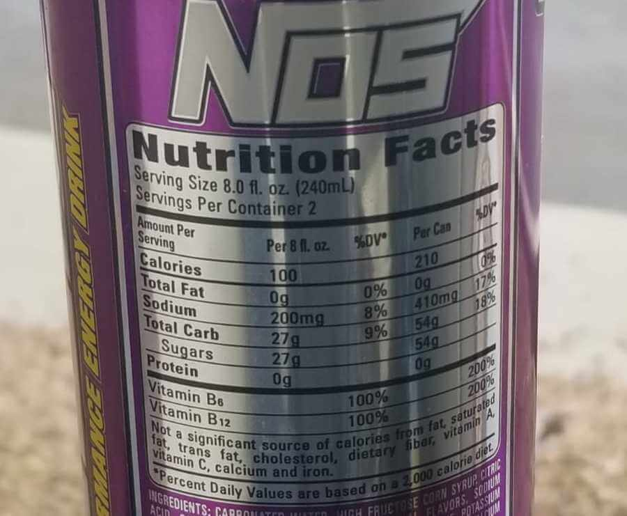 The nutrition facts behind a can of NOS Energy Drink.