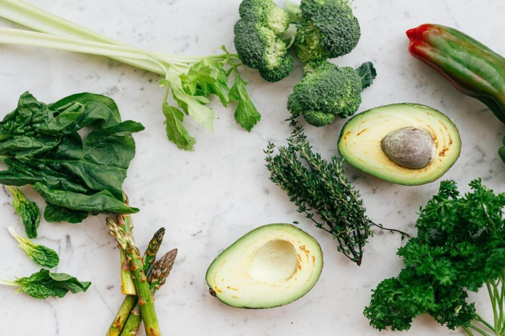 A picture of vegetables and avocado