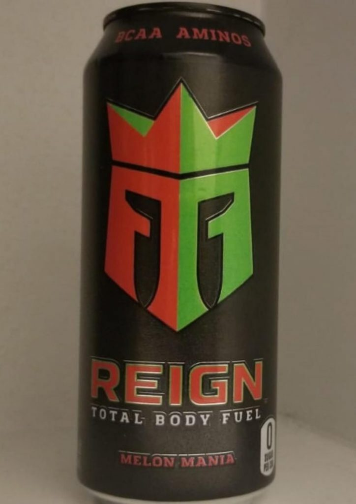 Close-up of Reign Energy drink.