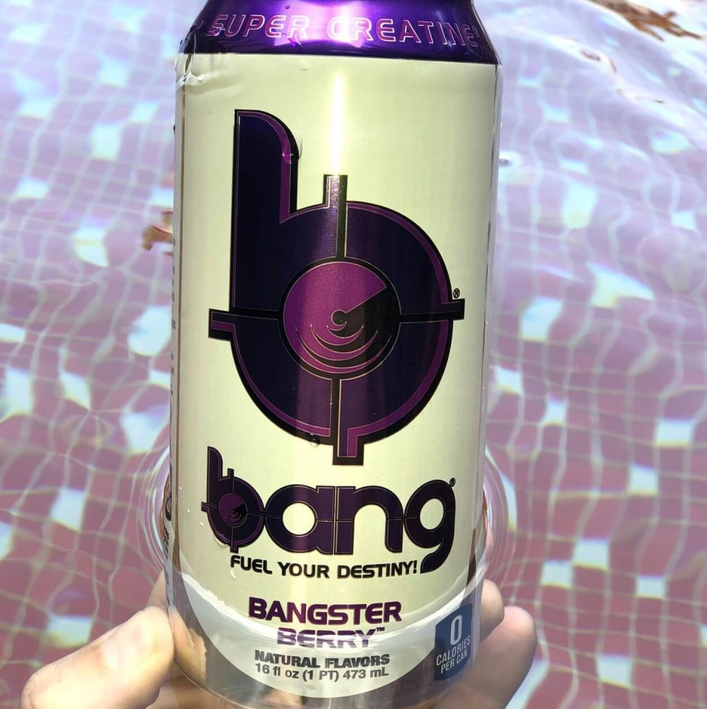 Close-up of a can of Bang (Bangster Berry flavour)