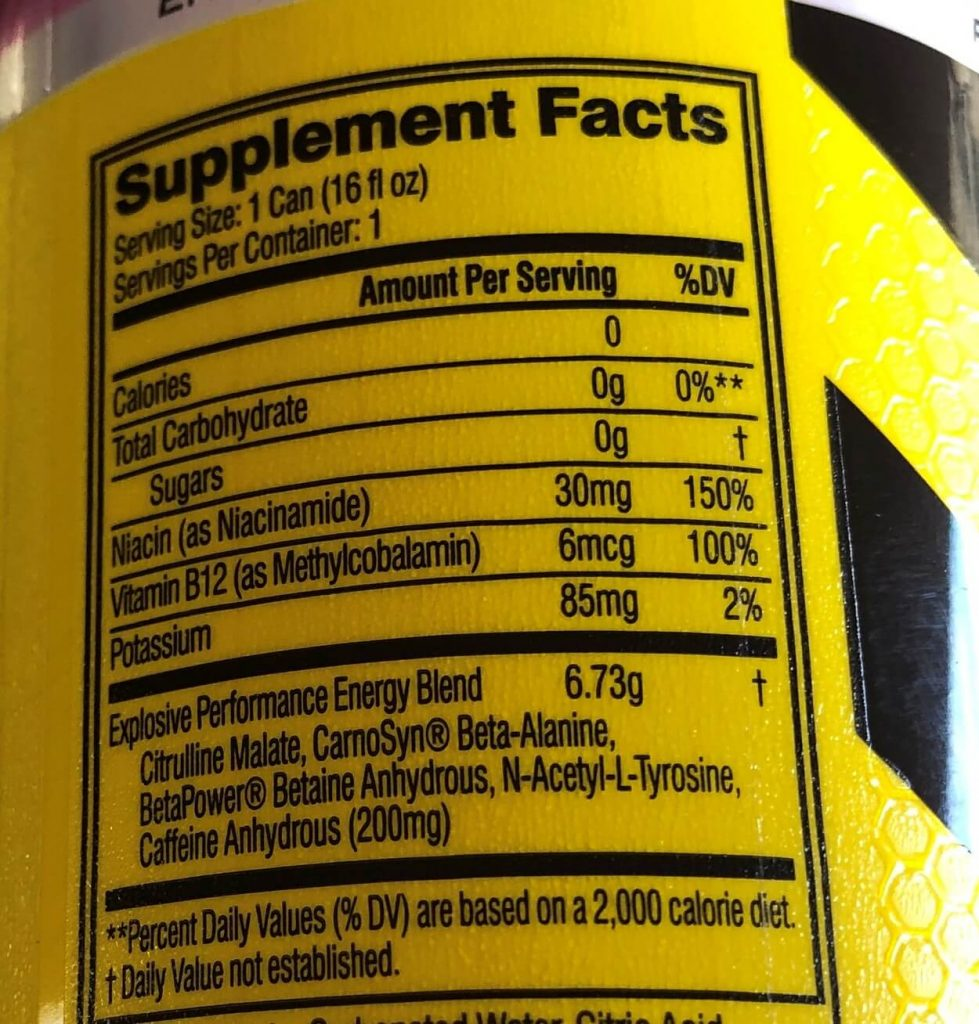 Close-up of the nutrition facts of one of varieties under C4 Energy.