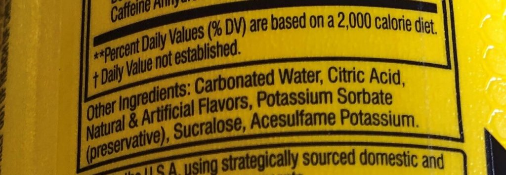 Close-up of the ingredients of one of the varieties under C4 Energy.