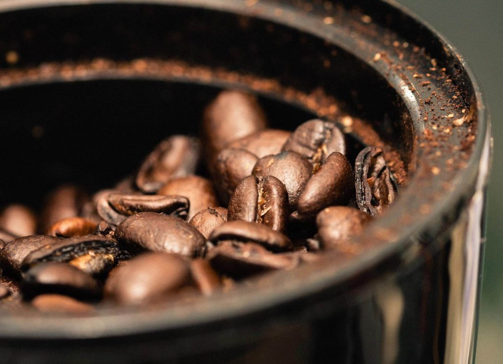 some coffee beans, which are a great source of caffeine