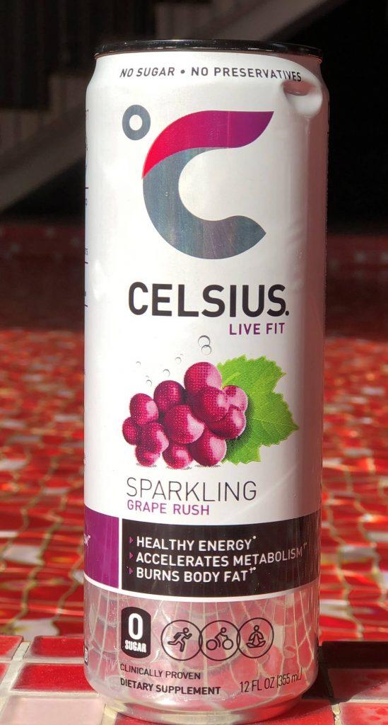 Close-up of a can of Celsius