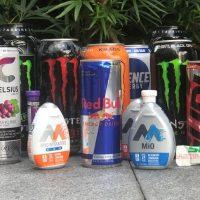 Different varieties of energy drinks.