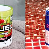 A tub of G Fuel Energy and a can of Red Bull.