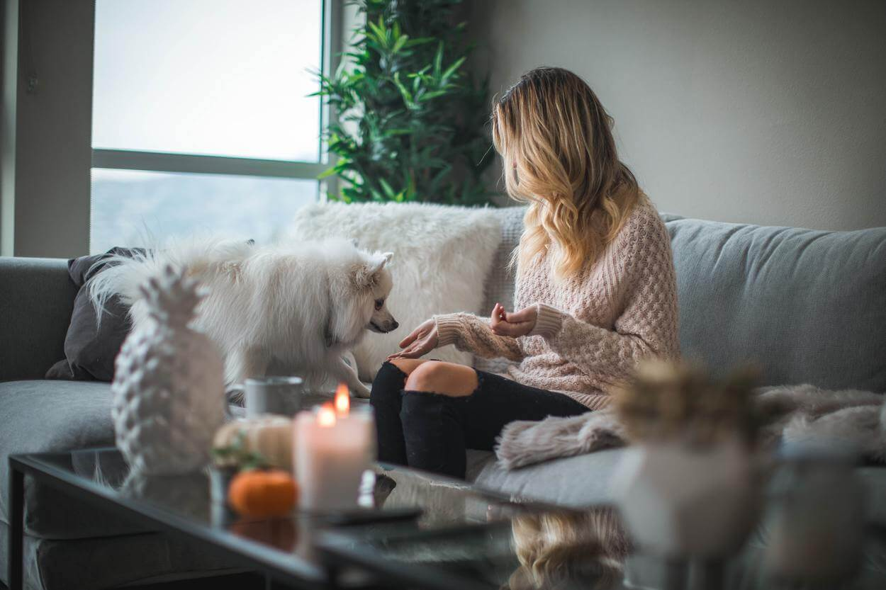 A woman sitting in living area with her dog.