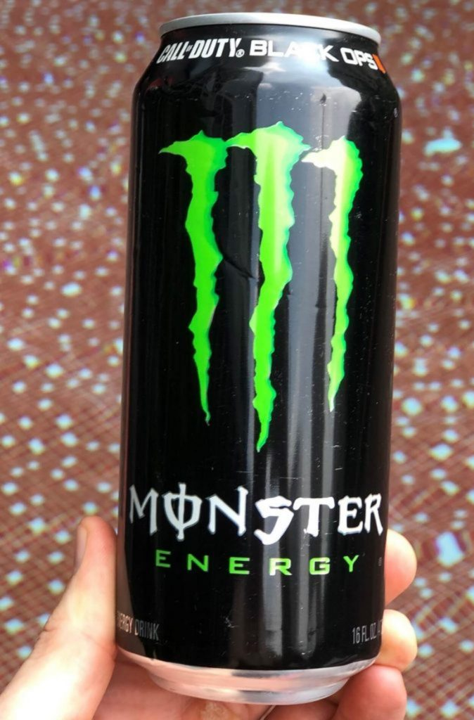 Close up of a can of Monster Energy Drink.