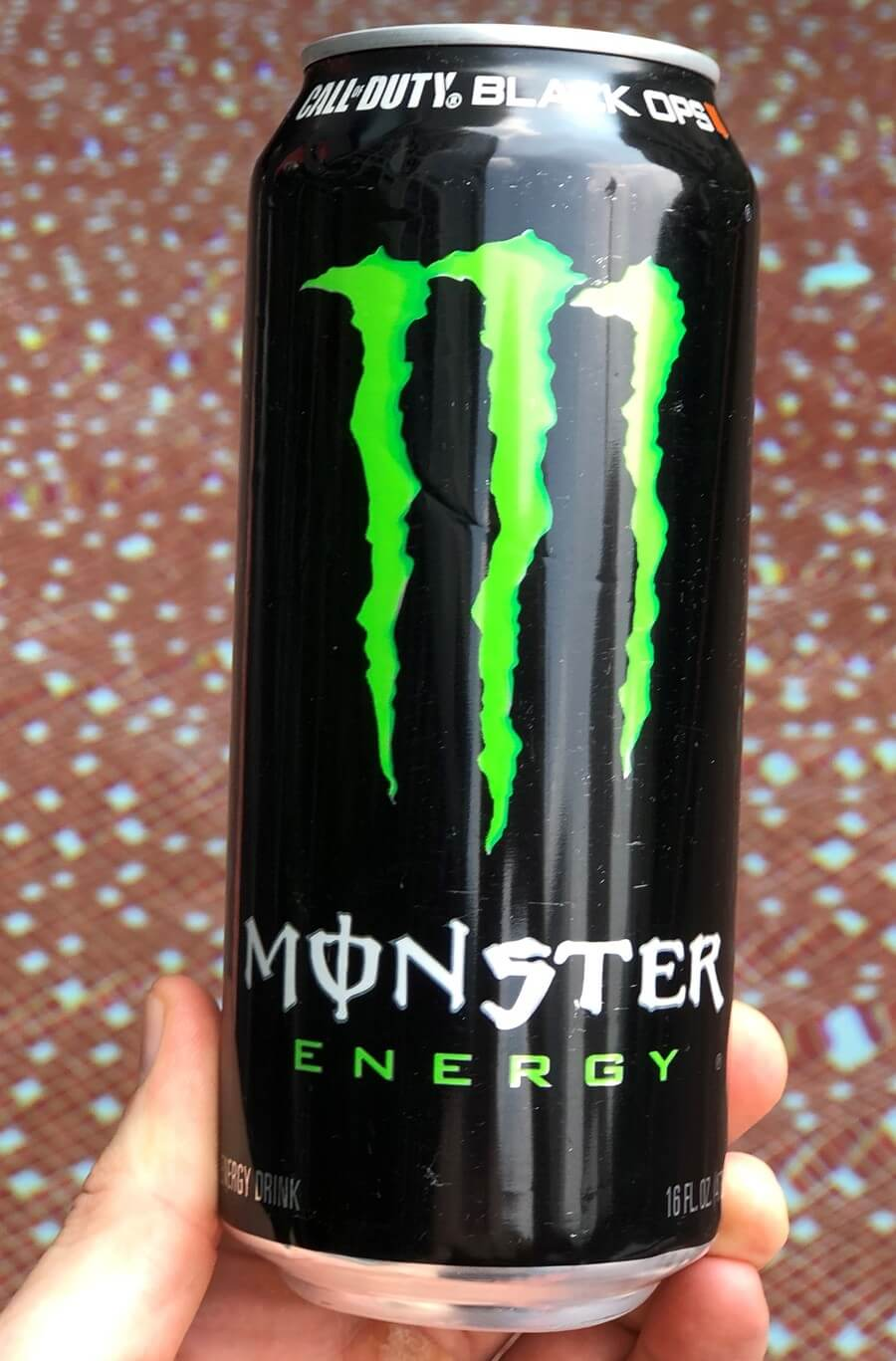 A close-up of Monster Energy.