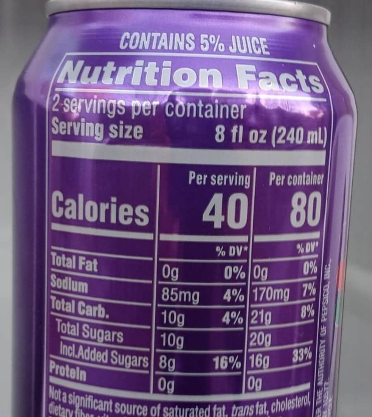 A table of the nutrition facts on a can of Mountain Dew Kickstart.