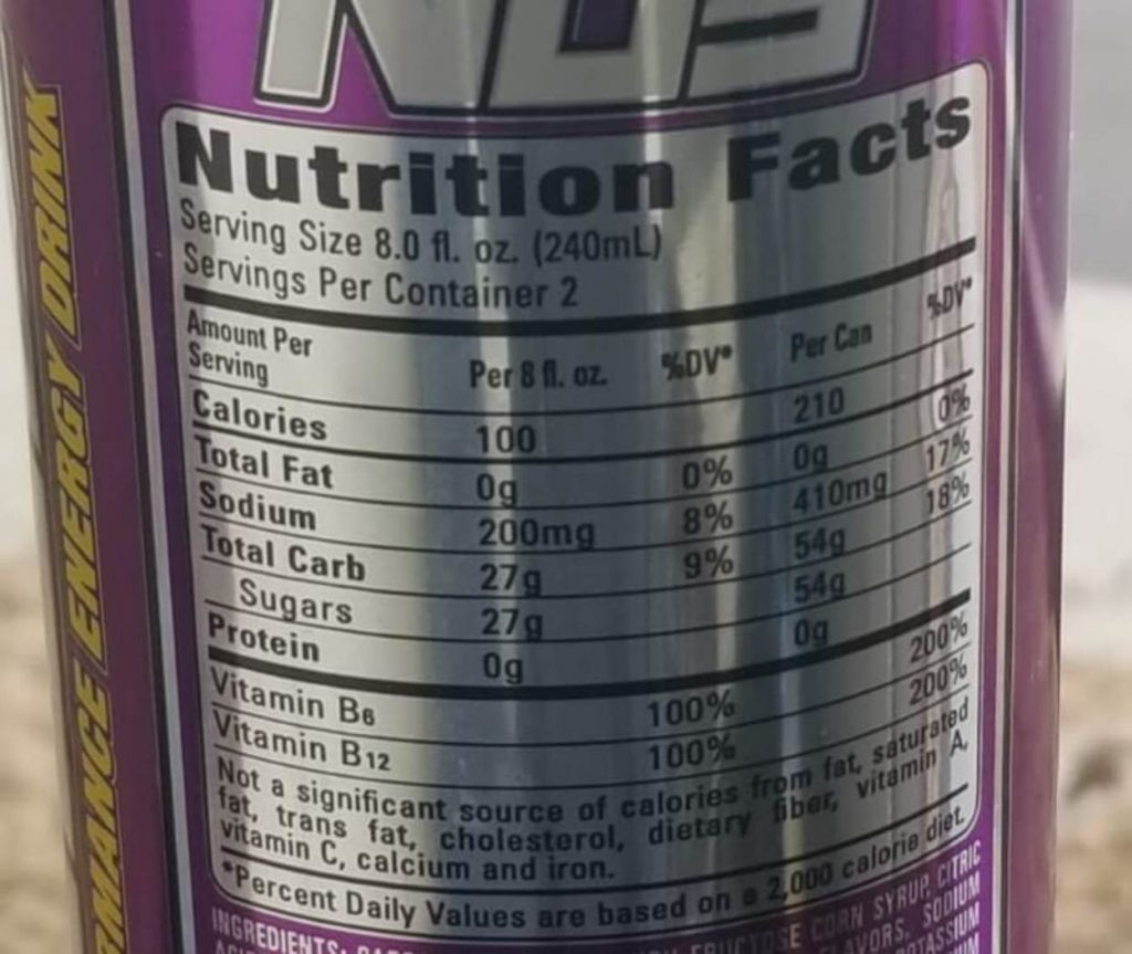 Close-up of the nutritional standards of NOS Energy.