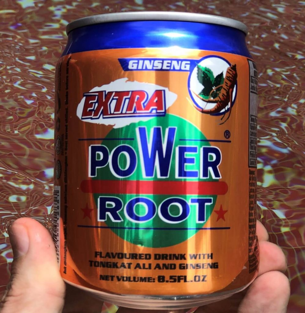 Close-up of a can of Power Root.