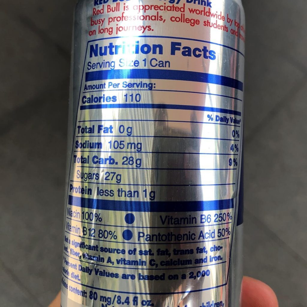 The nutritional facts of a can of Red Bull.
