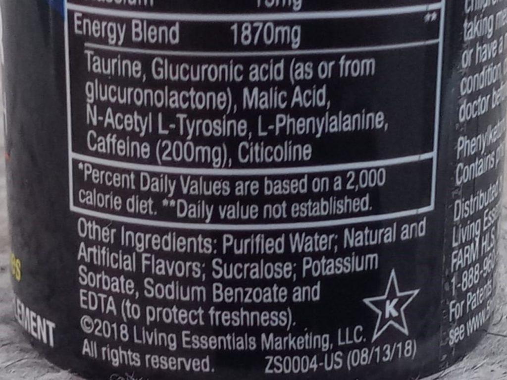 Photo of ingredient list of 5 hour energy