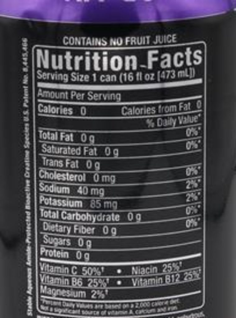 The nutritional label of Bang Purple Haze at the back of a can.