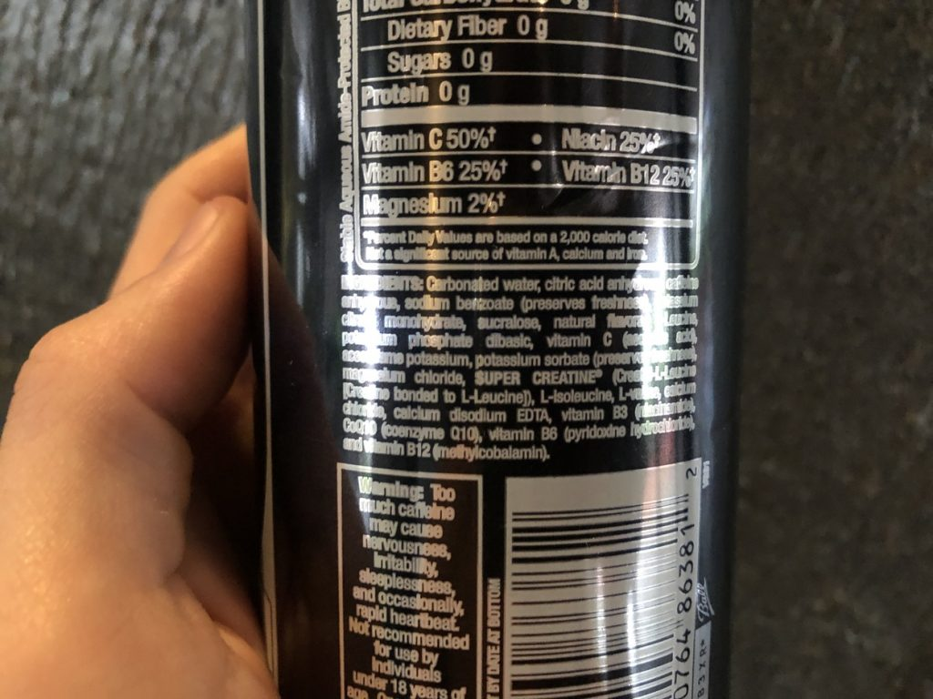 The ingredient list at the back of the can.
