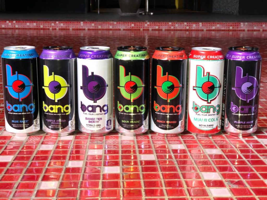 picture of cans of bang energy drink