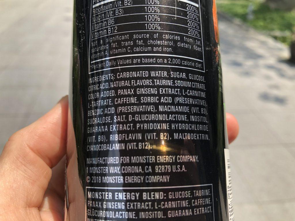 list of monster energy drink ingredients