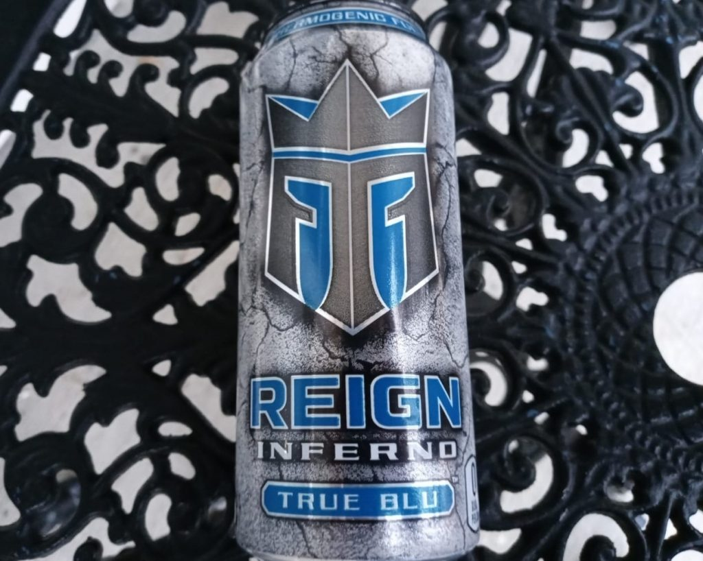 A can of Reign Inferno True Blu