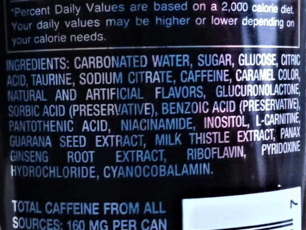Ingredients list of Rockstar Energy
