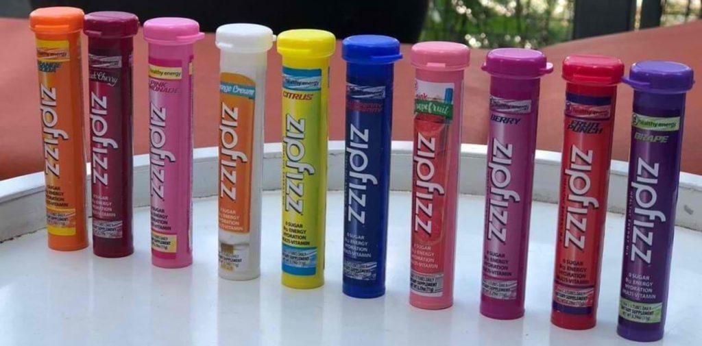 A row of Zipfizz flavors.