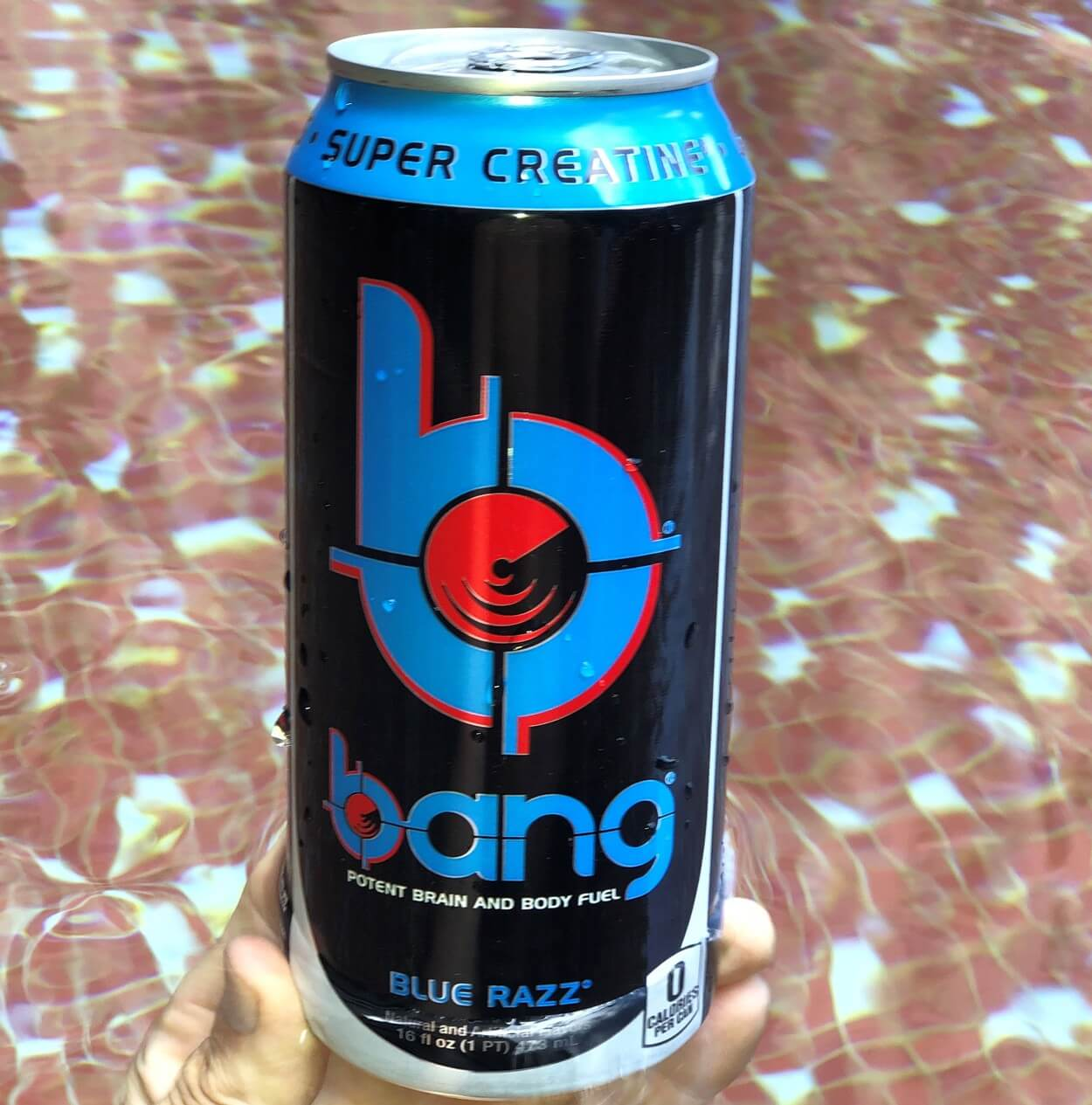 A can of Bang Blue Razz.
