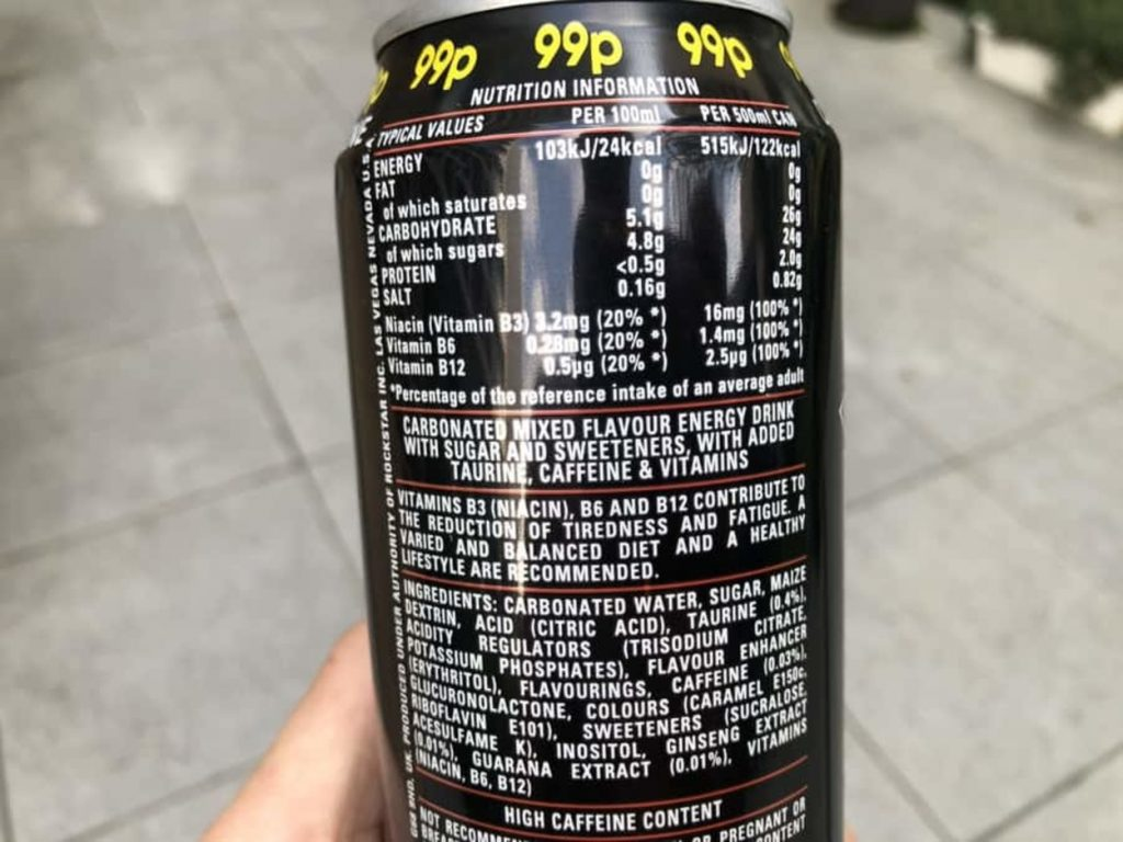 The nutritional value of Rockstar at the back of a can.