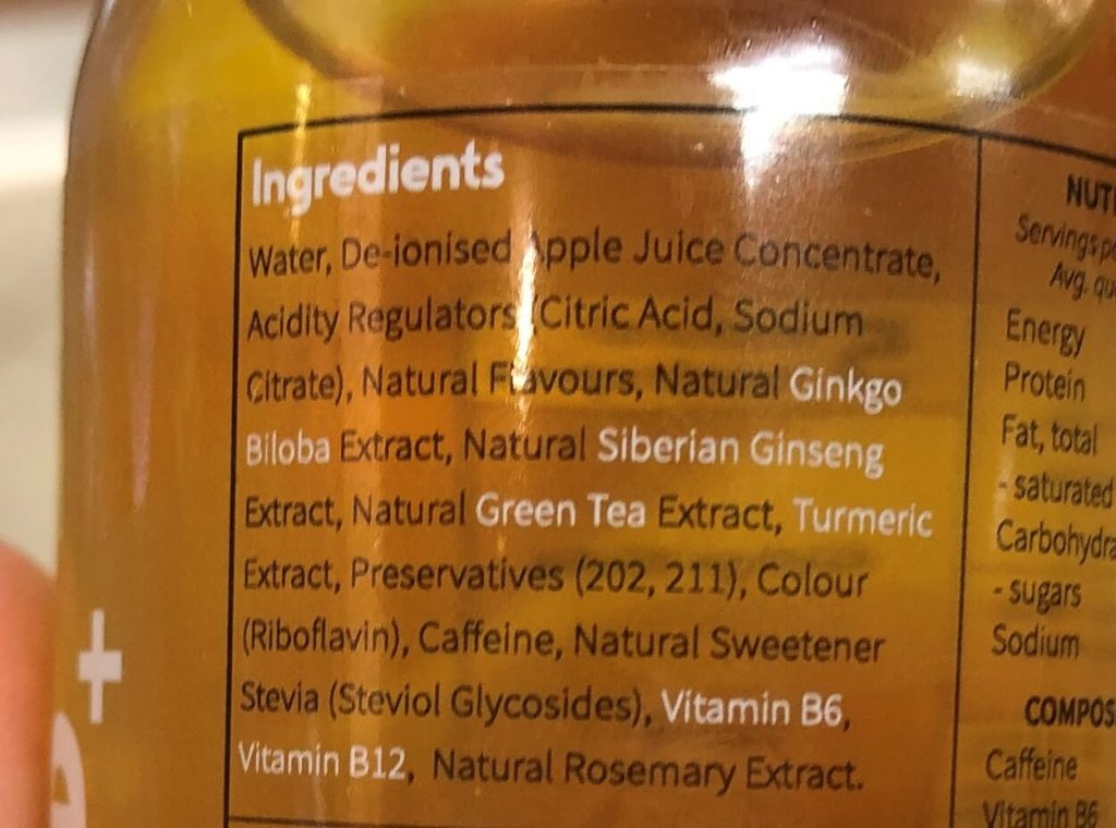 Ingredients in Shine+.