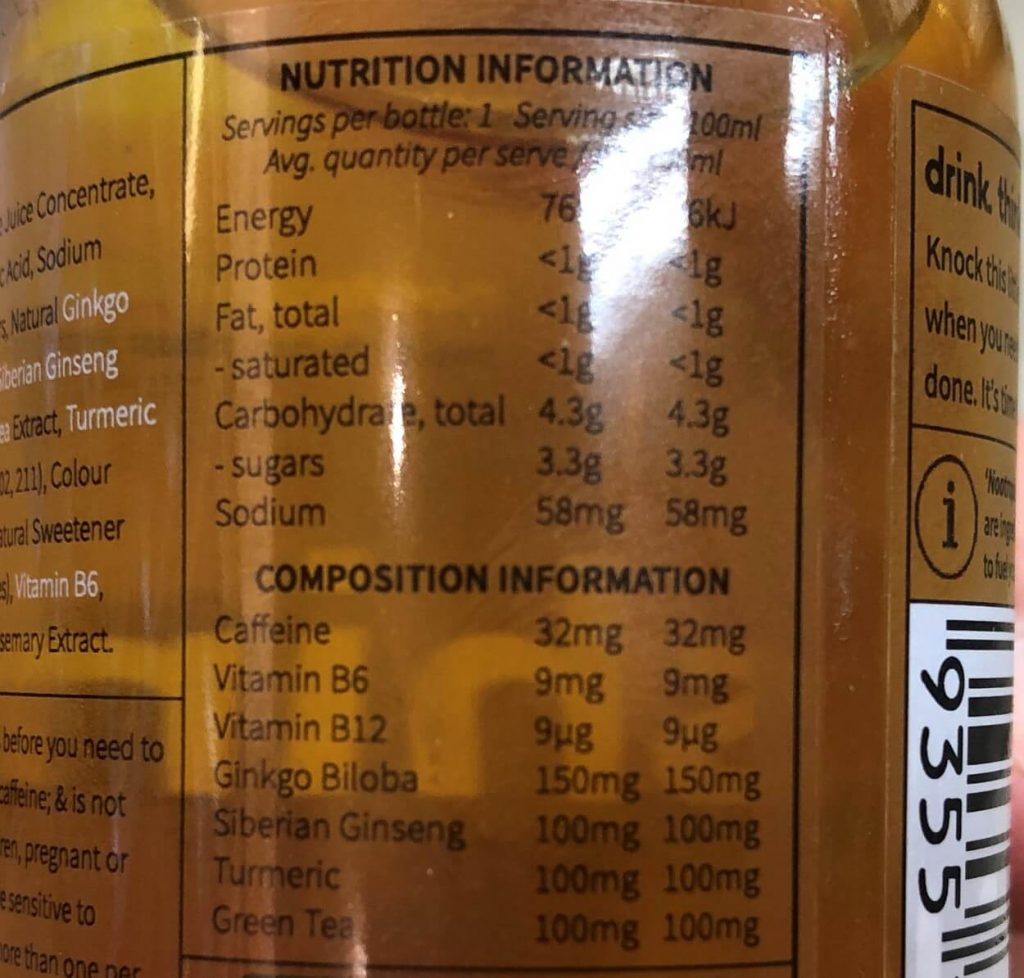 Shine Energy nutrition facts.