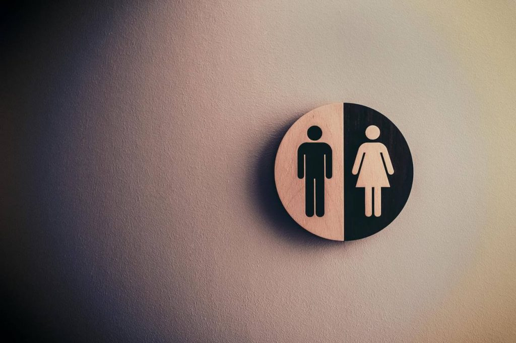 A toilet sign.