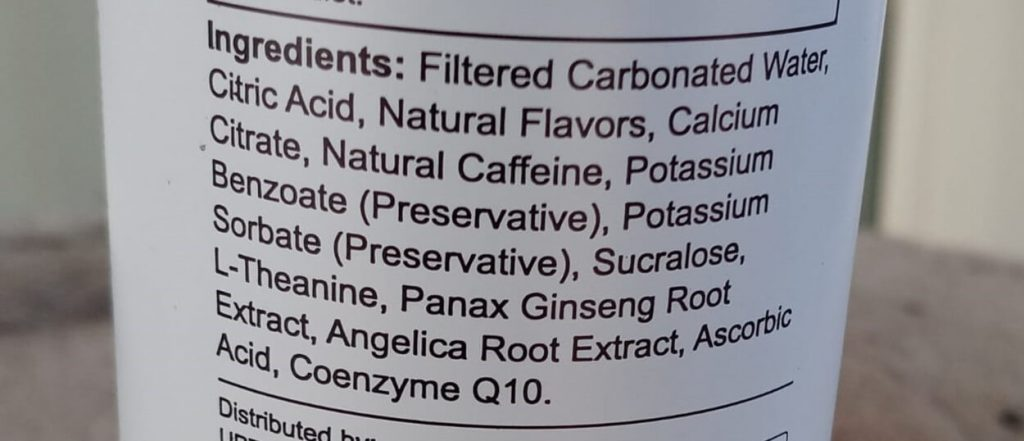Ingredients of a bottle of Uptime Energy.