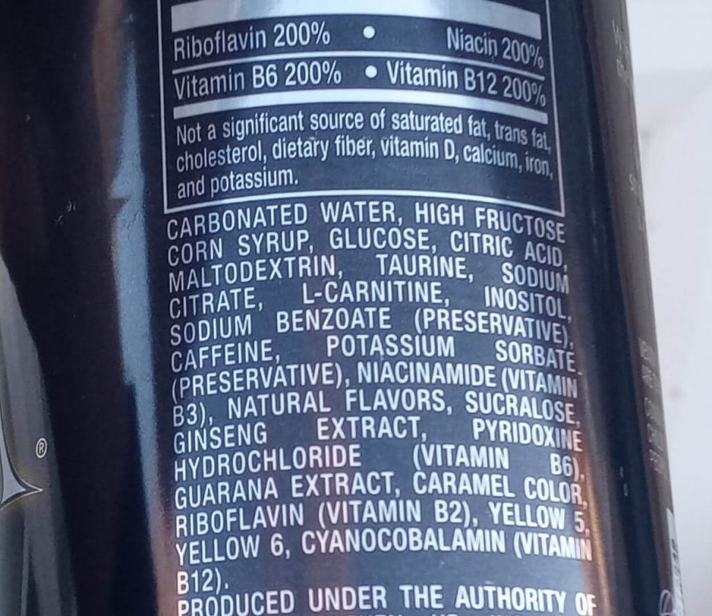 The ingredients in a can of Venom.