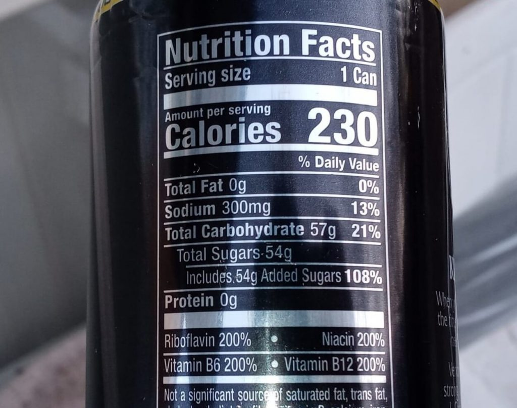 The nutritional table of Venom.