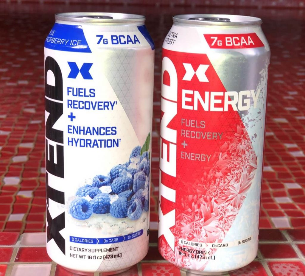 A can of Xtend Carbonated and a can of Xtend On-The-Go.