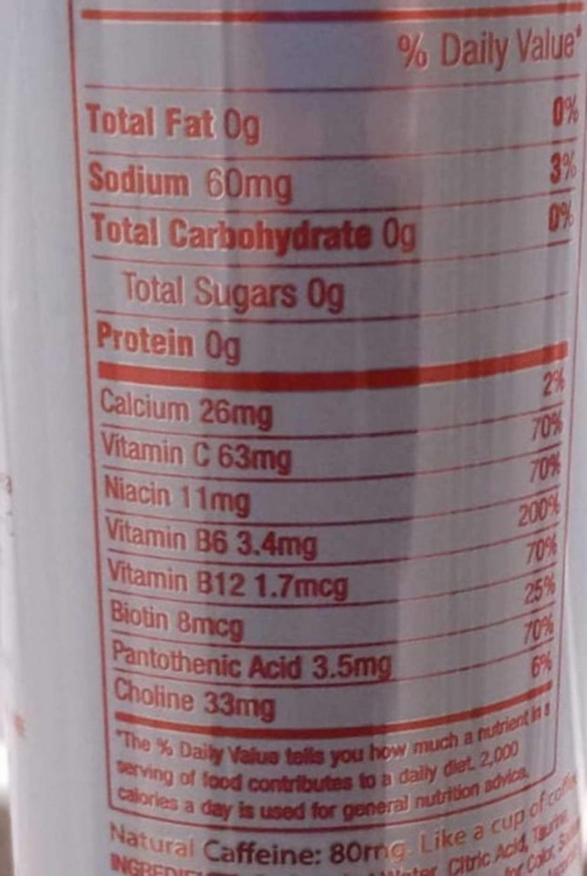 The nutritional value of Aspire energy drink at the back of the can.