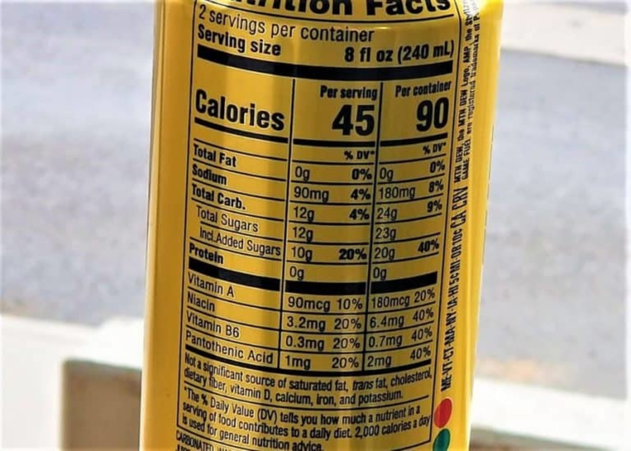 The nutritional value at the back of a can of Game Fuel.