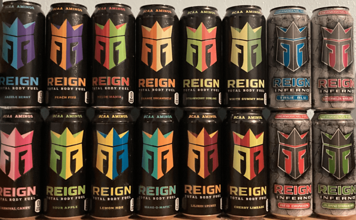 Cans of Reign Energy Drink.