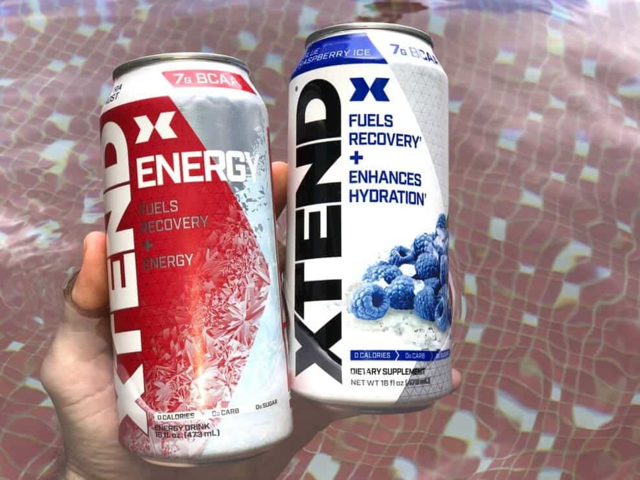 Cans of Xtend Energy Drink.