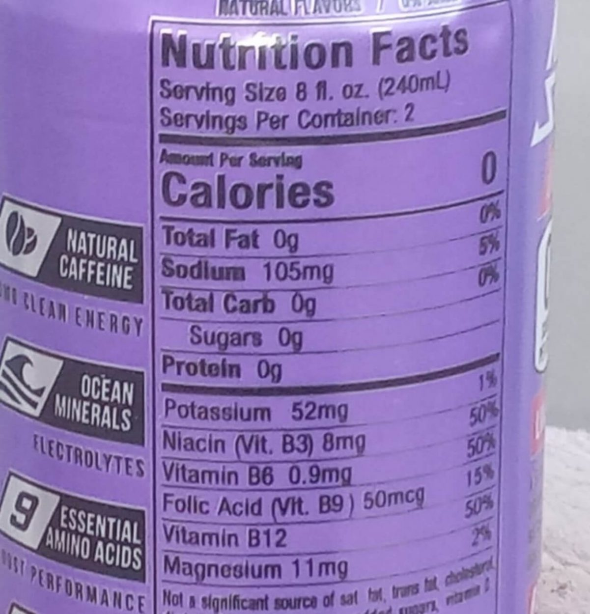 The nutritional values of an Adrenalin Shoc.