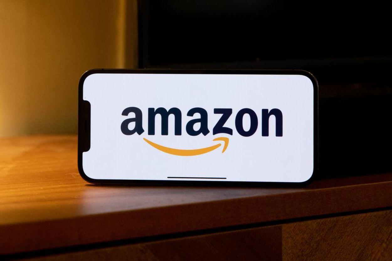 A phone displaying the Amazon logo