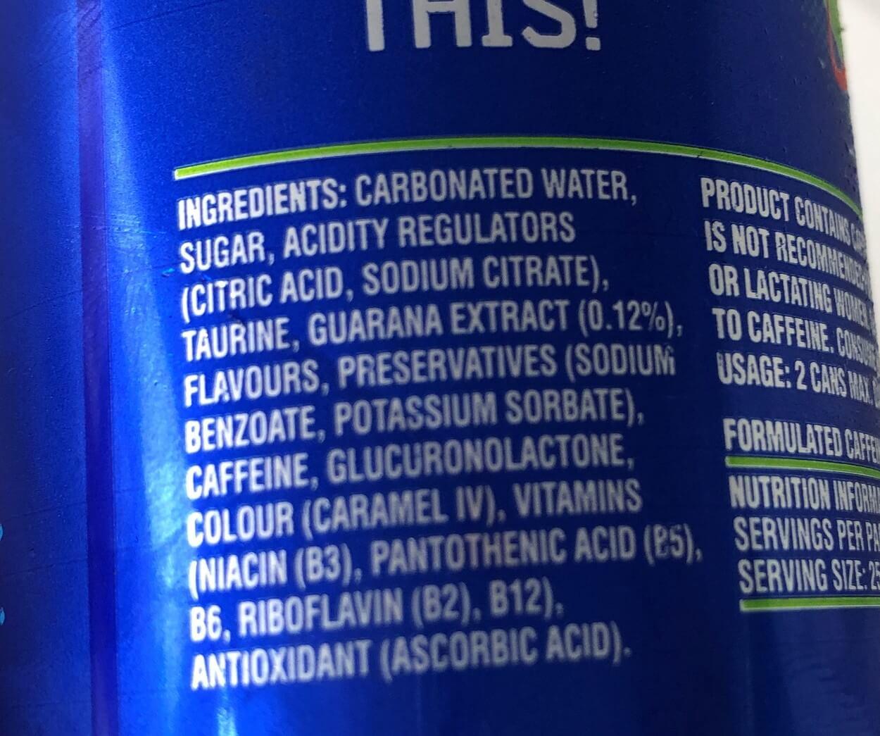 Ingredients list of Blue V.