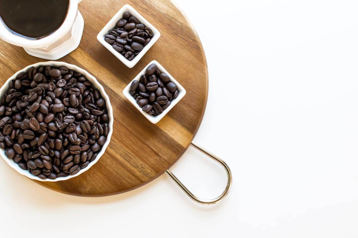 Cups of coffee beans.