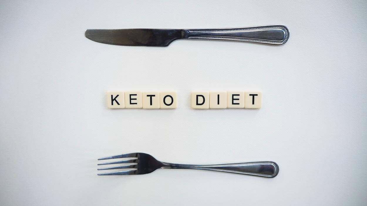 Keto diet spelled out in Scrabble pieces.