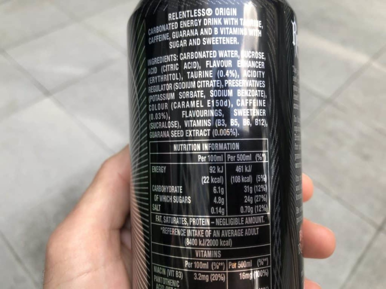 Relentless Energy Drink ingredients and nutritional value at the back of a can.