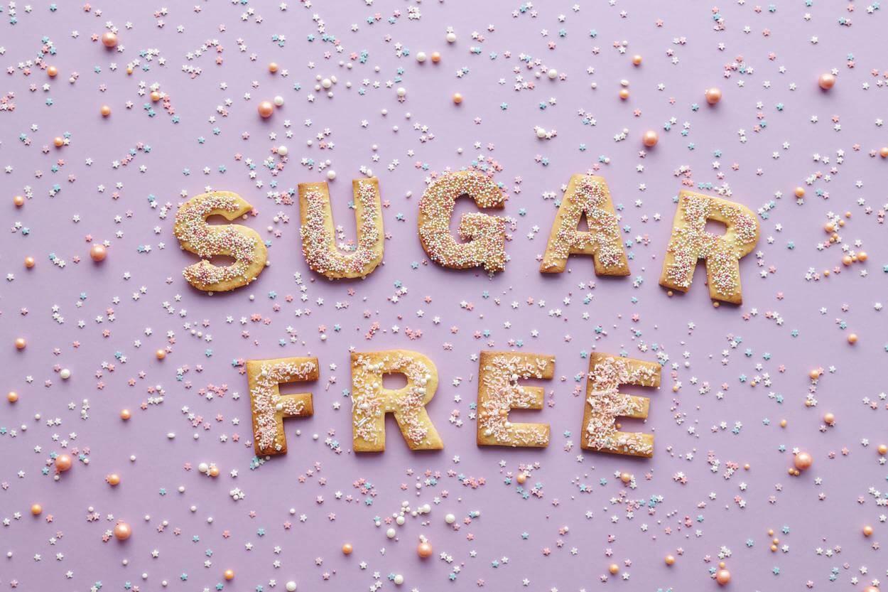 "Cookies spelling out ""sugar free""."